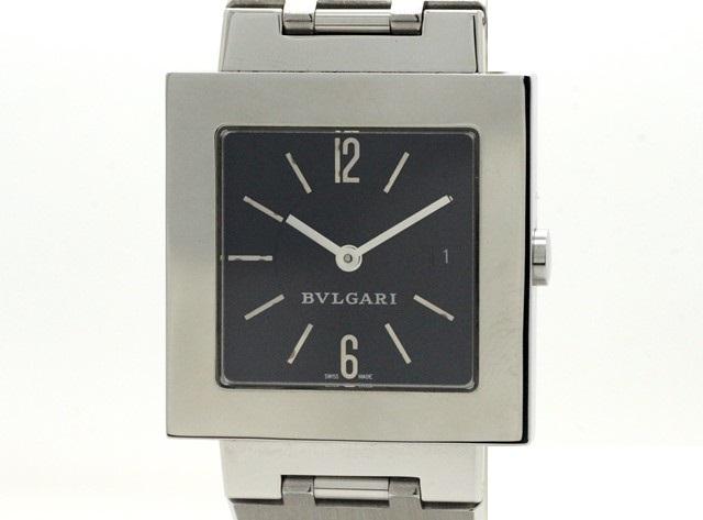 BVLGARI ブルガリ 時計 クアドラート SQ29SSD 黒文字盤 ブラック SS ステンレス 電池式 クオーツ 男女兼用腕時計  【473】