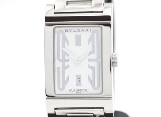 BVLGARI ブルガリ 時計 メンズ レッタンゴロ オートマチック ステンレス ホワイト文字盤 RT45S デイト【471】