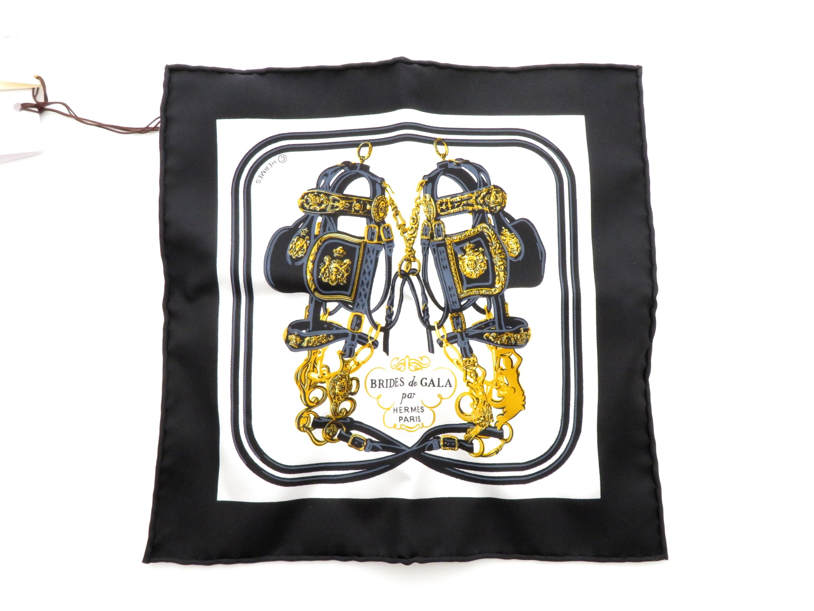 HERMES カレナノ20 ブラック/ホワイト シルク フリンジドドゥ柄【437】