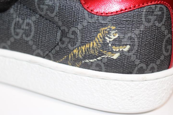 GUCCI グッチ スニーカー メンズ5ハーフ 約24.5cm ブラック タイガー GGスプリーム 動物 PVC 定価:¥90,200 【200】 image number 6