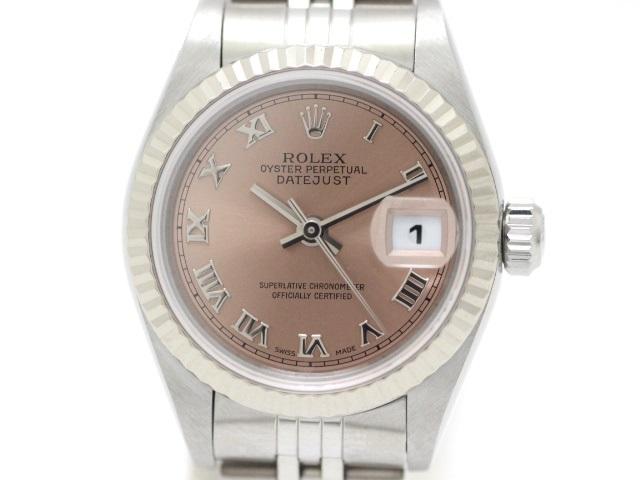 P番 2000年頃製造 ROLEX ロレックス デイトジャスト 時計 レディース ステンレス K18ホワイトゴールド ピンクローマ文字盤 79174 HN【471】