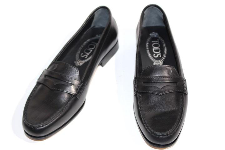 TOD'S トッズ 革靴 ローファー ドライビングシューズ レディース34 約21cm ブラック レザー 2120000162930【200】