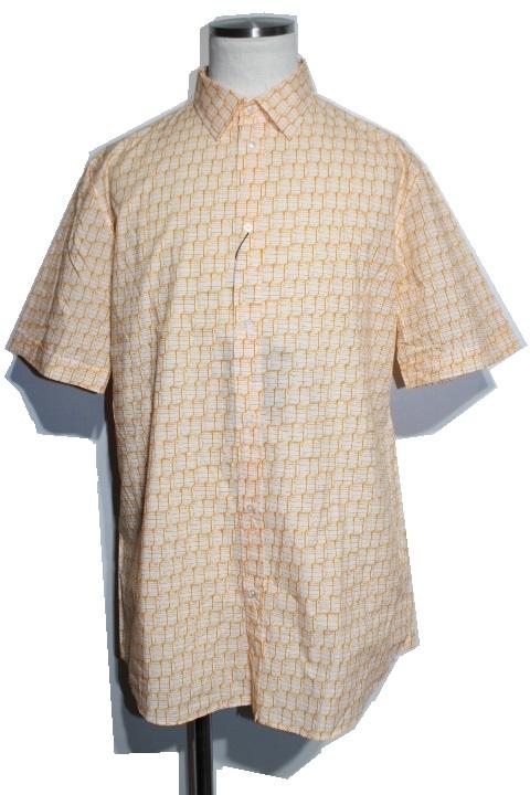 LOUIS VUITTON ルイ・ヴィトン LV 半袖 シャツ トップス メンズXL オレンジ ホワイト コットン  【432
