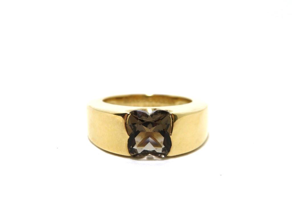 MAUBOUSSIN モーブッサン 指輪 リング ゴールド YG 750 イエローゴールド×スモーキークォーツ SQ/10.8g/#50 10号 ユニセックス メンズ レディース【472】HF