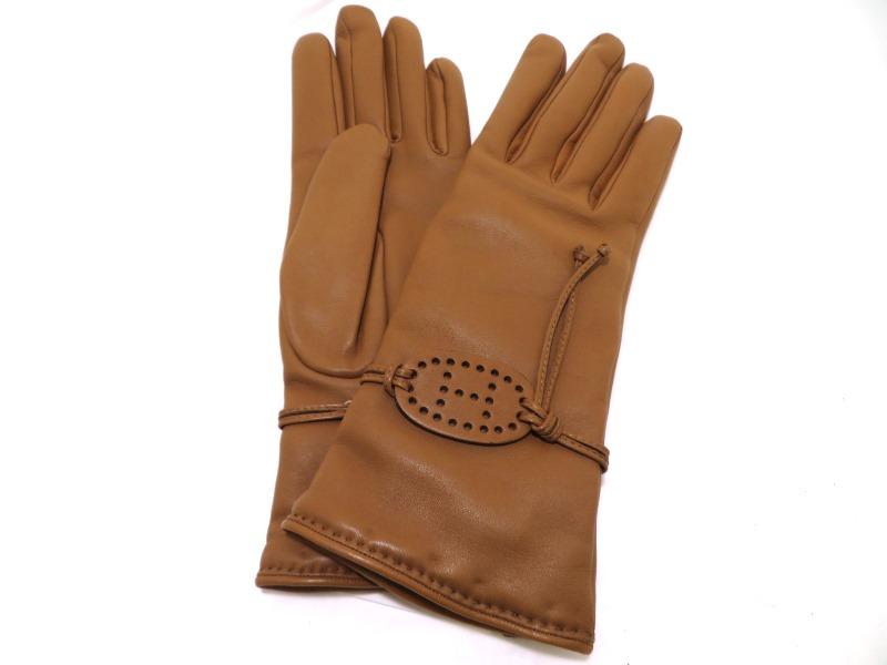 エルメス HERMES 手袋 グローブ  キャメル ラムスキン 7 1/2サイズ 【472】