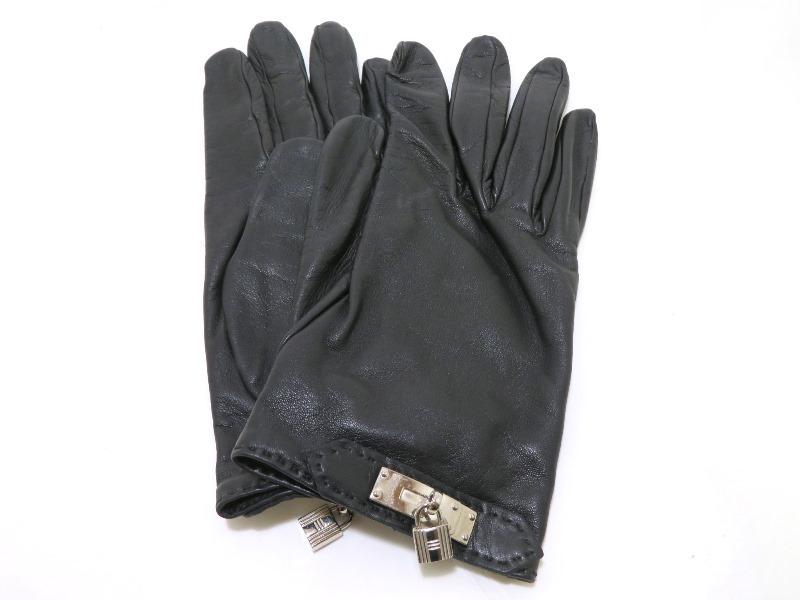 エルメス HERMES 手袋  ケリーグローブ ブラック/SV金具 #8【472】KS