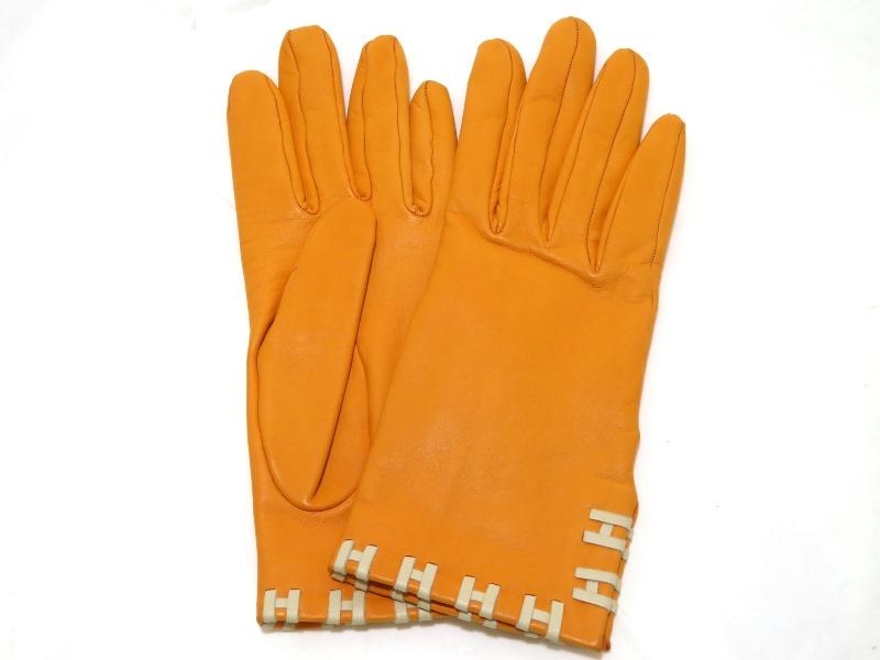 エルメス HERMES 手袋 グローブ オレンジ Hマーク 【472】KS