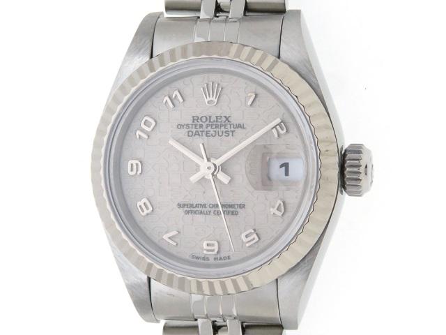 [1997年4月並行ギャラ]ROLEX ロレックス 時計 デイトジャスト 69174 T番 レディース ホワイトゴールド×ステンレス 自動巻き【436】2145000185369