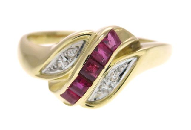 JEWELRY 貴金属・宝石 ノンブランド 指輪 K18イエローゴールド プラチナ900 ルビー ダイヤモンド0.33ct 14号 3.3g 【205】