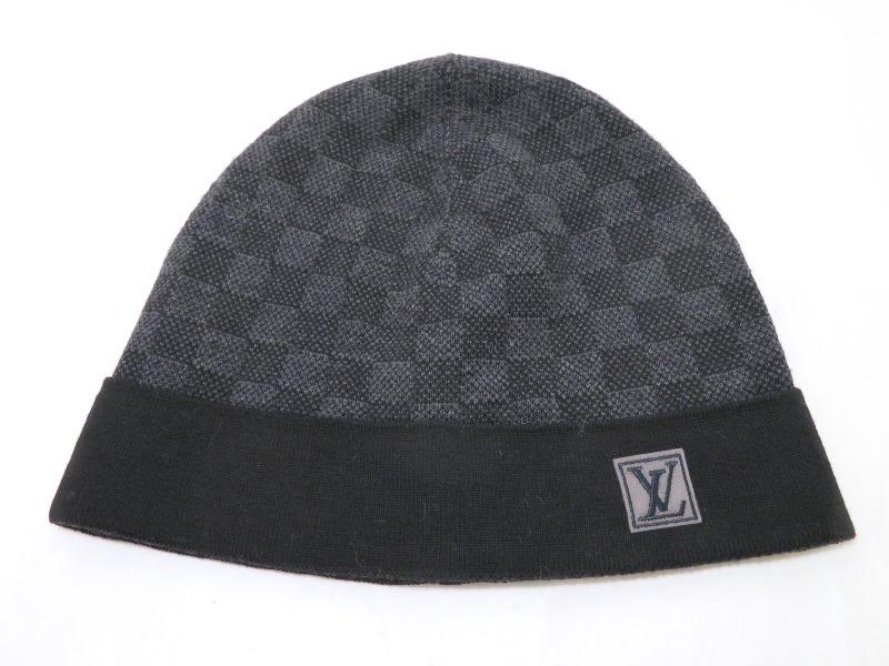 LOUIS VUITTON ルイ・ヴィトン ニット帽子 ボネ・プティ ダミエ ウール グラフィット M70009 SJ【472】
