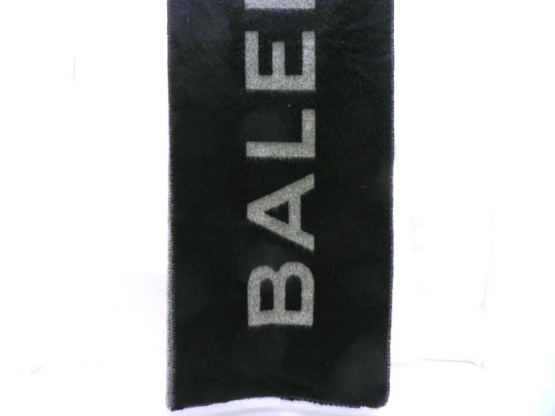 バレンシアガ BALENCIAGA ロゴマフラー ブラック/グレー カシミヤ70%羊毛30%【472】KS