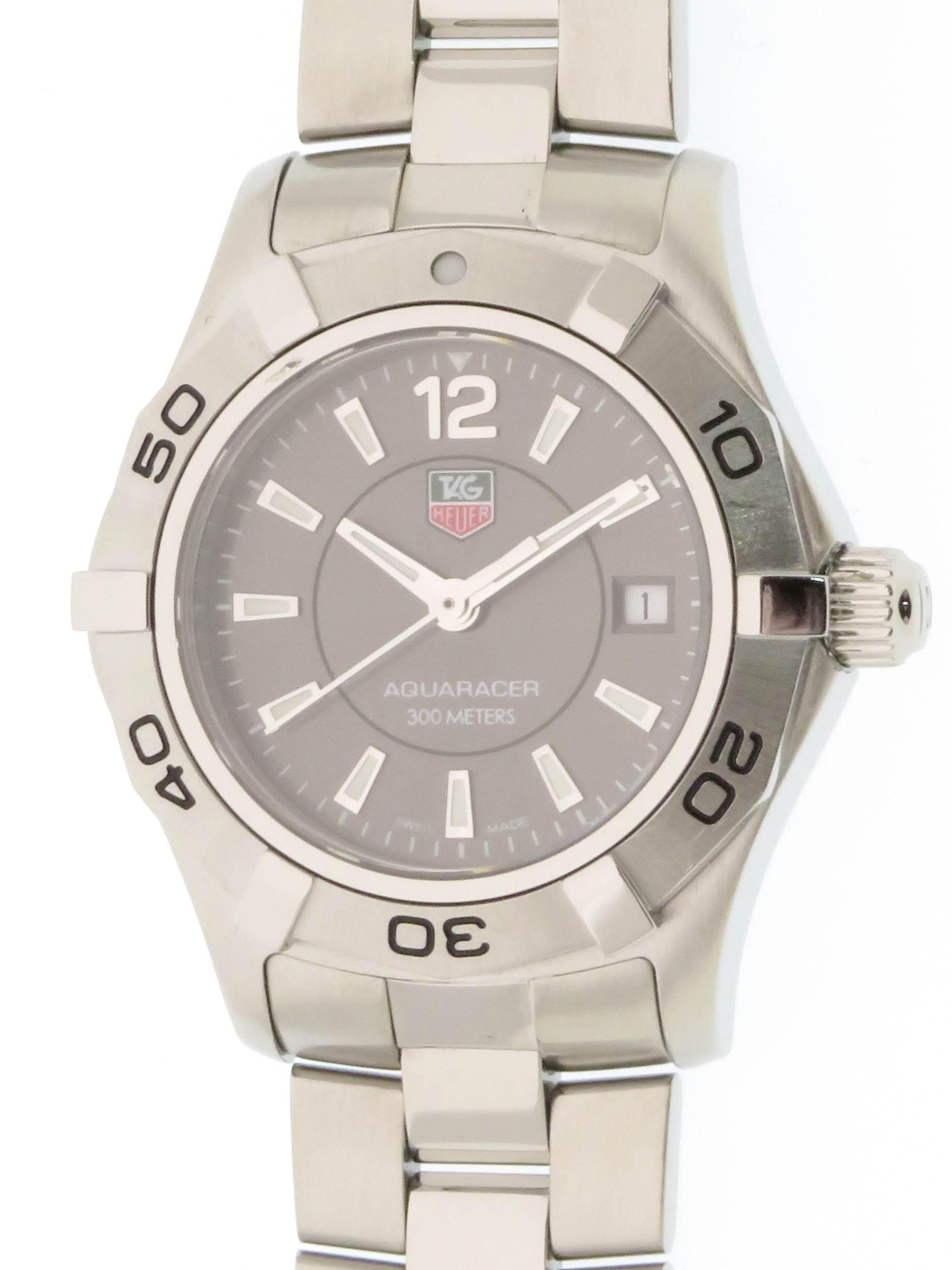 TAG HEUER タグホイヤー アクアレーサー WAF141E ステンレススチール グレー文字盤 クォ―ツ レディース腕時計 【437】