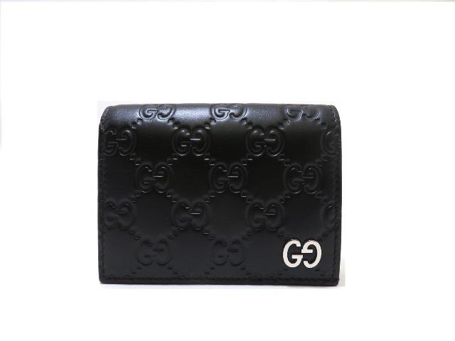 GUUCI グッチ グッチシマ カードケースウォレット ブラック レザー【472】SS