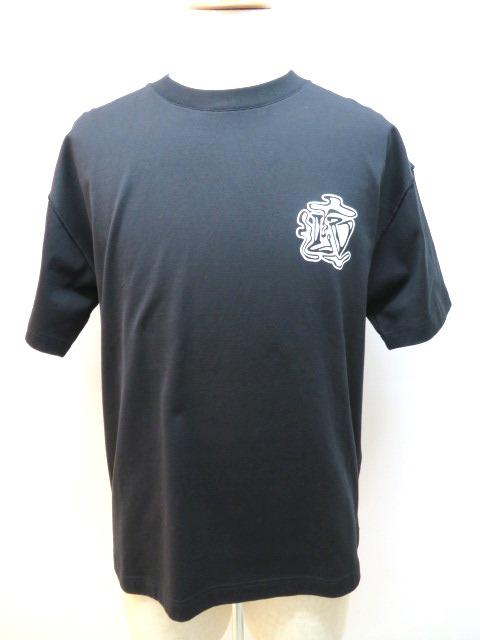 LOUIS VUITTON ルイヴィトン LV スモーク プリンテッド Tシャツ メンズ M ブラック コットン 【432】