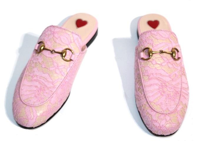 GUCCI グッチ サンダル スリッパ レディース34 約21cm ピンク ファブリック (2148103329562)【200】