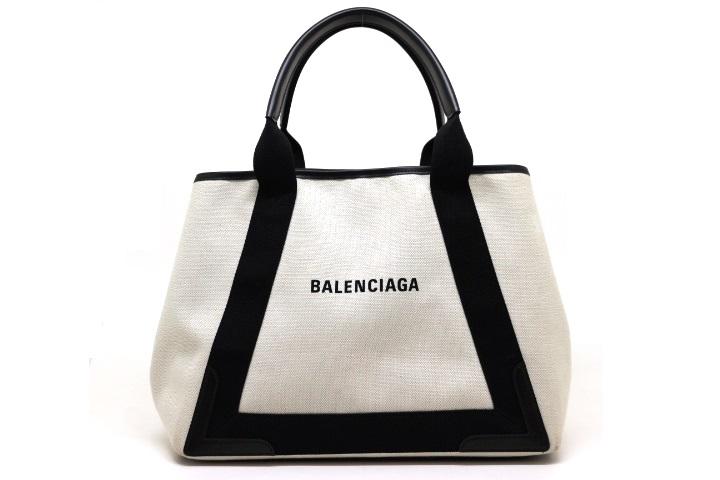BALENCIAGA バレンシアガ バッグ トートバッグ ネイビーミディアムカバス キャンバス レザー ナチュラル ブラック 214310032869430 【200】