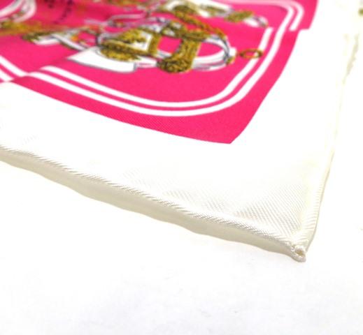 HERMES エルメス 小物 ハンカチ カレナノ ブリジッドドゥ  シルク ピンク ホワイト 【472】CT