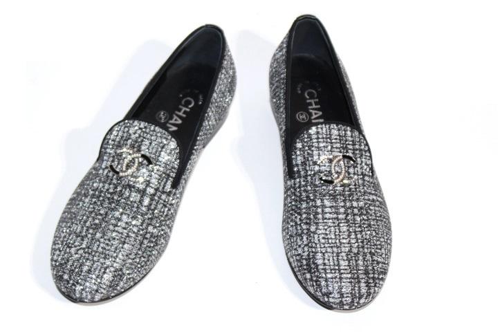CHANEL シャネル 革靴 パンプス レディース36ハーフ 約23.5cm シルバー ココマーク ファブリック G32948 (2148103331282)【200】