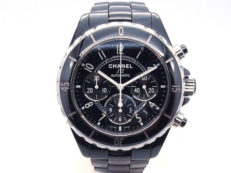 CHANEL シャネル J12 クロノグラフ H0940 黒文字盤 セラミック 自動巻き オートマティック 男性用腕時計【432】