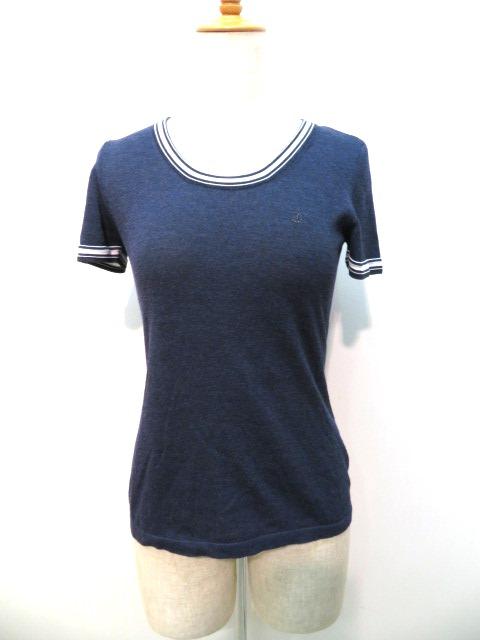 シャネル Tシャツ レディース34 ネイビー レーヨン ナイロン P37545K02499 【432】